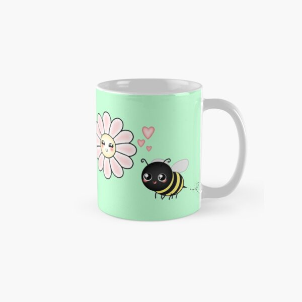 Kawaii Bumble Bee & Kawaii Daisy   Pink Blossom Flower Classic Mug