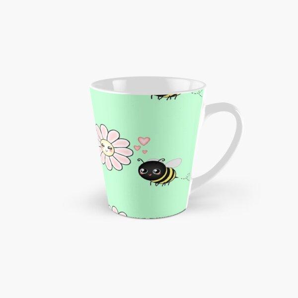 Kawaii Bumble Bee & Kawaii Daisy | Pink Blossom Flower Tall Mug