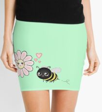 Kawaii Bumble Bee & Kawaii Daisy | Pink Blossom Flower Mini Skirt