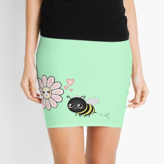 Kawaii Bumble Bee & Kawaii Daisy | Pink Blossom Flower Mini Skirt