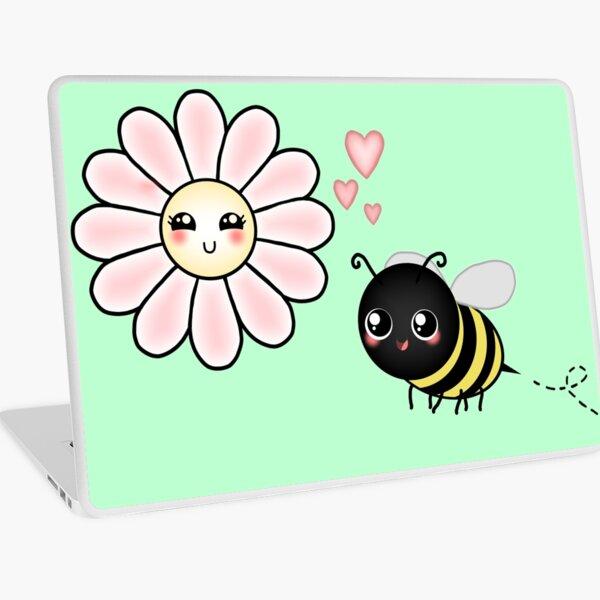 Kawaii Bumble Bee & Kawaii Daisy   Pink Blossom Flower Laptop Skin