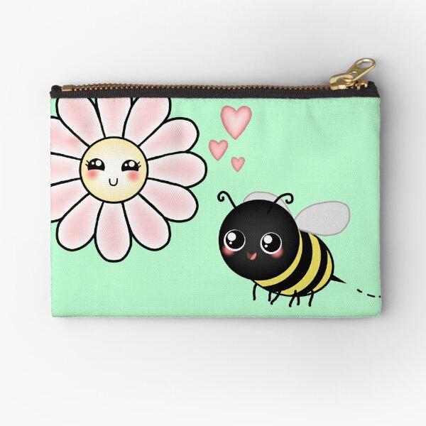 Kawaii Bumble Bee & Kawaii Daisy   Pink Blossom Flower Zipper Pouch