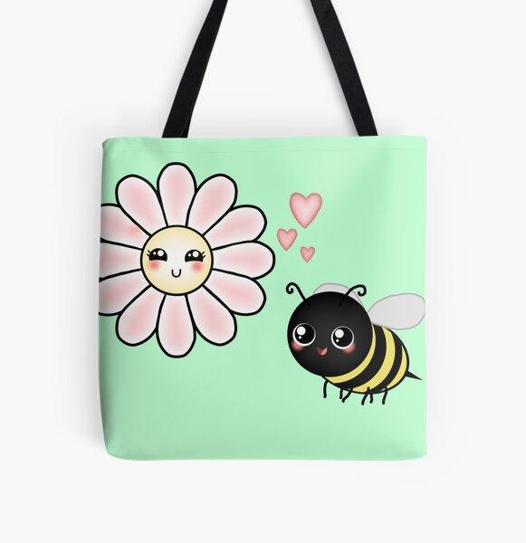 Kawaii Bumble Bee & Kawaii Daisy   Pink Blossom Flower All Over Print Tote Bag
