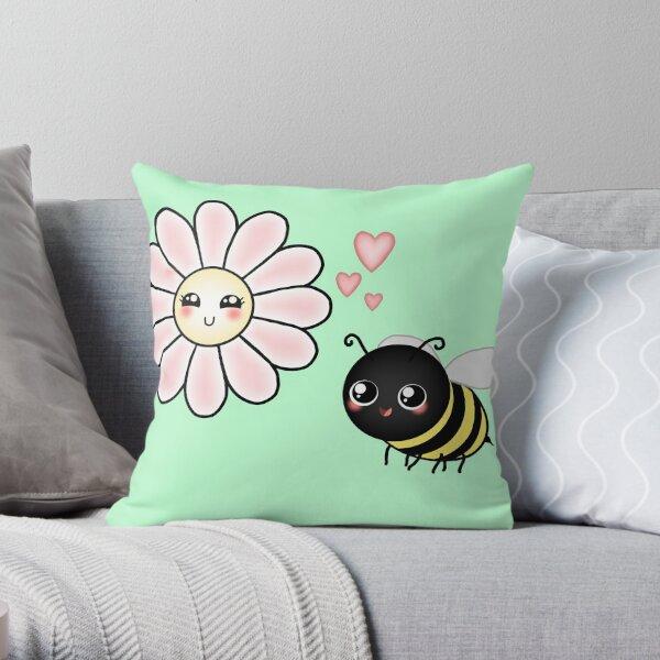 Kawaii Bumble Bee & Kawaii Daisy   Pink Blossom Flower Throw Pillow