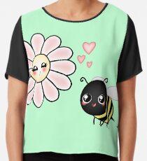Kawaii Bumble Bee & Kawaii Daisy | Pink Blossom Flower Chiffon Top