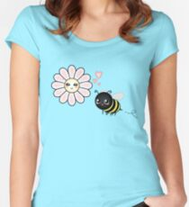 Kawaii Bumble Bee & Kawaii Daisy | Pink Blossom Flower Fitted Scoop T-Shirt