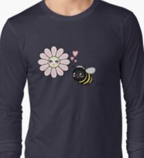 Kawaii Bumble Bee & Kawaii Daisy | Pink Blossom Flower Long Sleeve T-Shirt