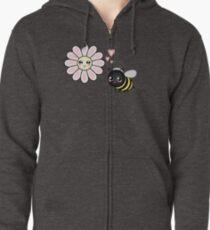 Kawaii Bumble Bee & Kawaii Daisy | Pink Blossom Flower Zipped Hoodie