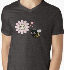 Kawaii Bumble Bee & Kawaii Daisy   Pink Blossom Flower V-Neck T-Shirt