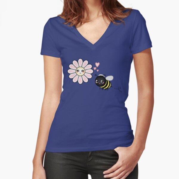 Kawaii Bumble Bee & Kawaii Daisy | Pink Blossom Flower Fitted V-Neck T-Shirt
