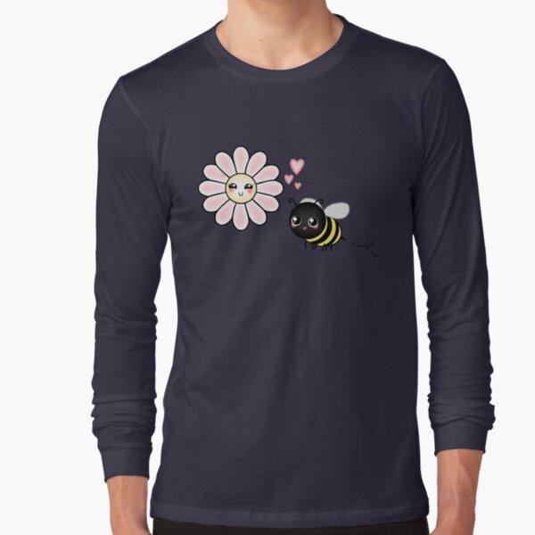 Kawaii Bumble Bee & Kawaii Daisy | Pink Blossom Flower Long Sleeve T-Shirt