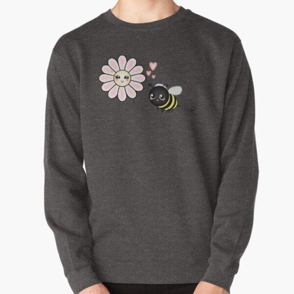 Kawaii Bumble Bee & Kawaii Daisy | Pink Blossom Flower Pullover Sweatshirt