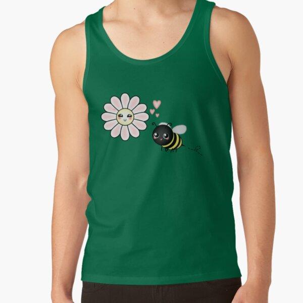 Kawaii Bumble Bee & Kawaii Daisy   Pink Blossom Flower Tank Top