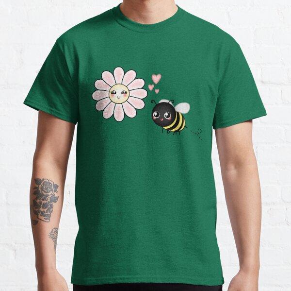 Kawaii Bumble Bee & Kawaii Daisy   Pink Blossom Flower Classic T-Shirt