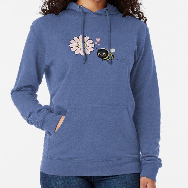 Kawaii Bumble Bee & Kawaii Daisy | Pink Blossom Flower Lightweight Hoodie