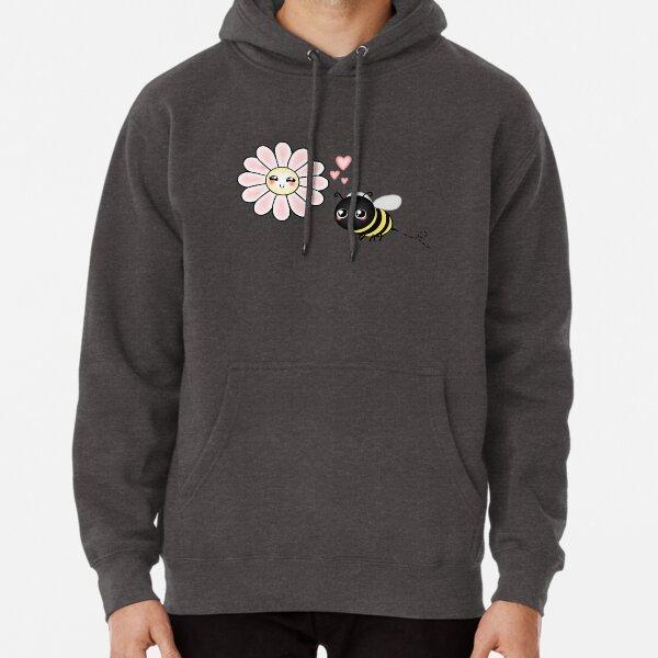 Kawaii Bumble Bee & Kawaii Daisy | Pink Blossom Flower Pullover Hoodie