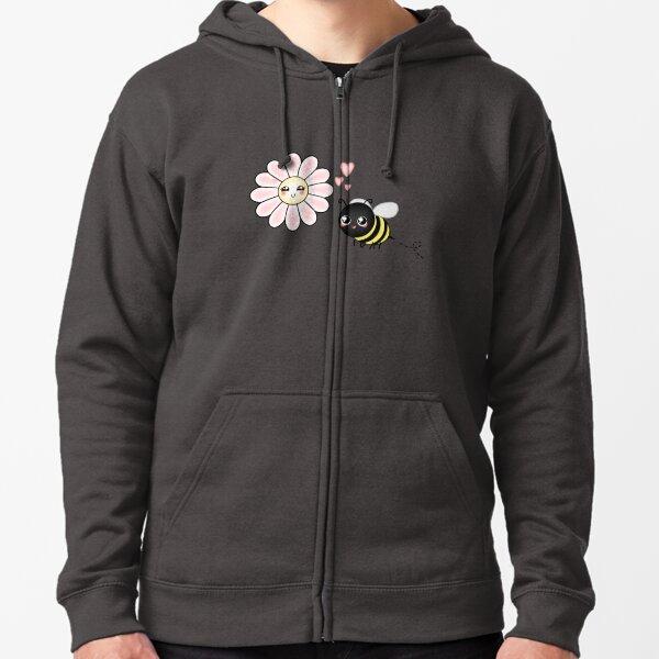 Kawaii Bumble Bee & Kawaii Daisy   Pink Blossom Flower Zipped Hoodie