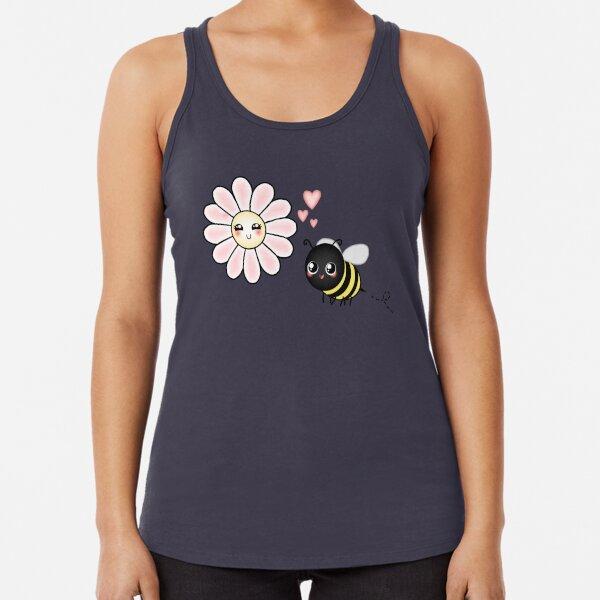 Kawaii Bumble Bee & Kawaii Daisy | Pink Blossom Flower Racerback Tank Top