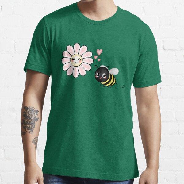 Kawaii Bumble Bee & Kawaii Daisy   Pink Blossom Flower Essential T-Shirt