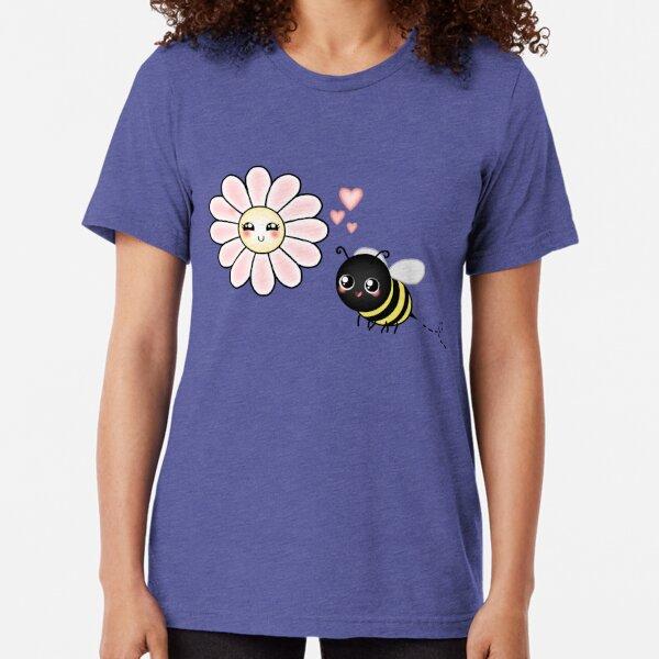 Kawaii Bumble Bee & Kawaii Daisy | Pink Blossom Flower Tri-blend T-Shirt