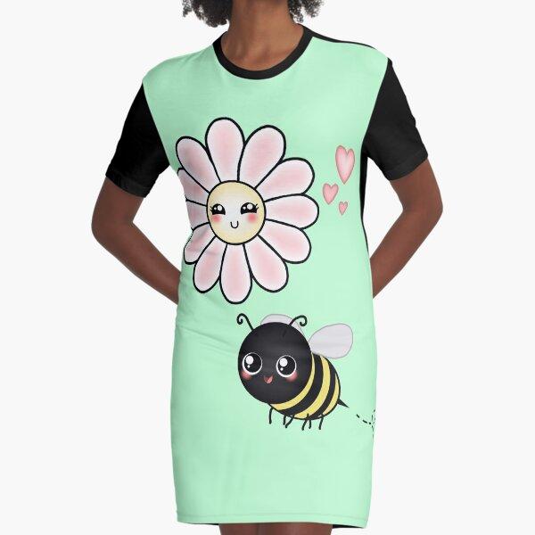 Kawaii Bumble Bee & Kawaii Daisy | Pink Blossom Flower Graphic T-Shirt Dress