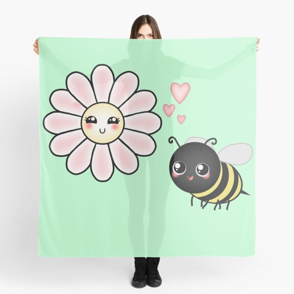 Kawaii Bumble Bee & Kawaii Daisy | Pink Blossom Flower Scarf