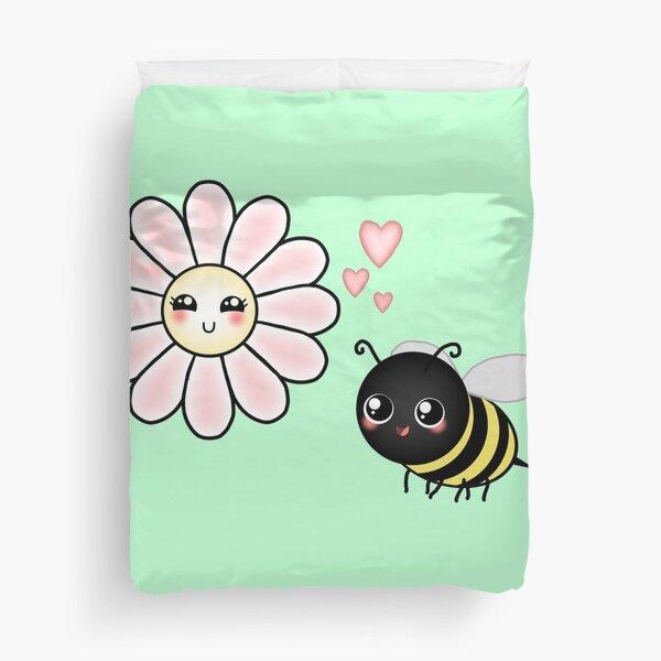 Kawaii Bumble Bee & Kawaii Daisy | Pink Blossom Flower Duvet Cover