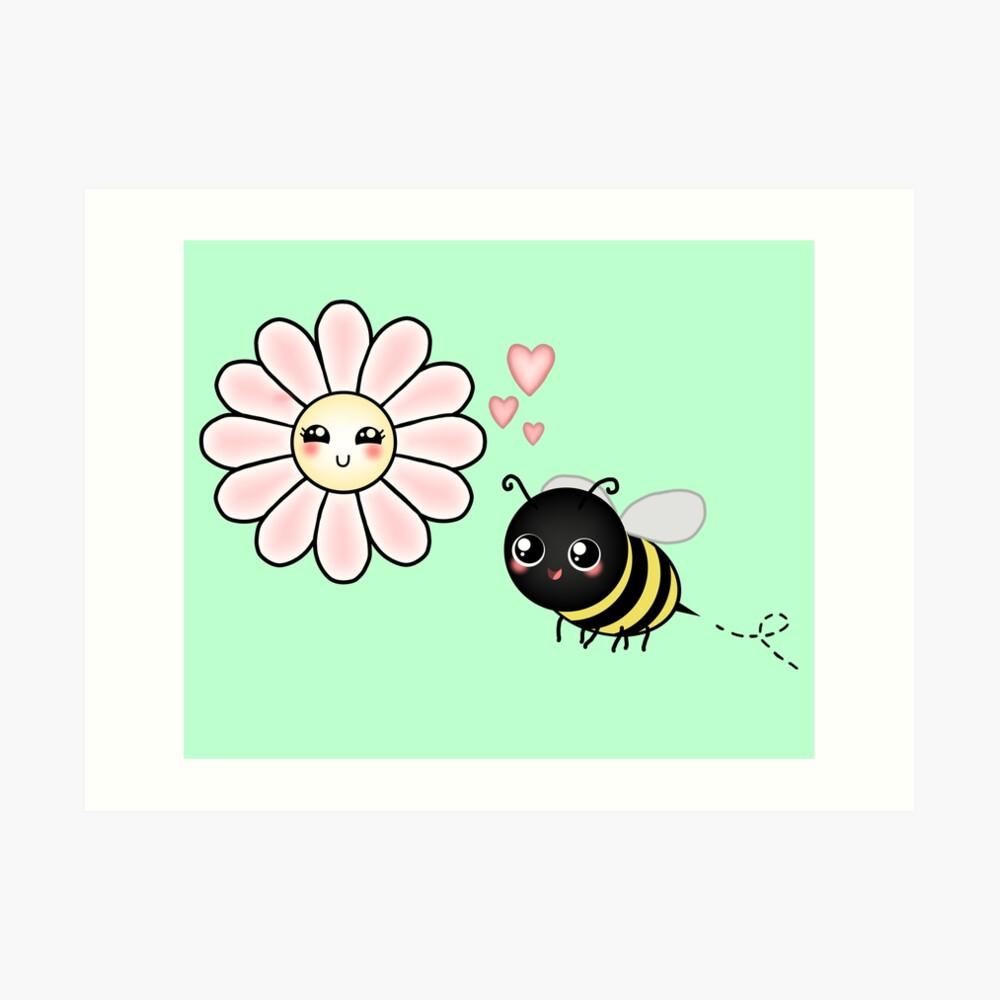 Kawaii Bumble Bee & Kawaii Daisy | Pink Blossom Flower Art Print