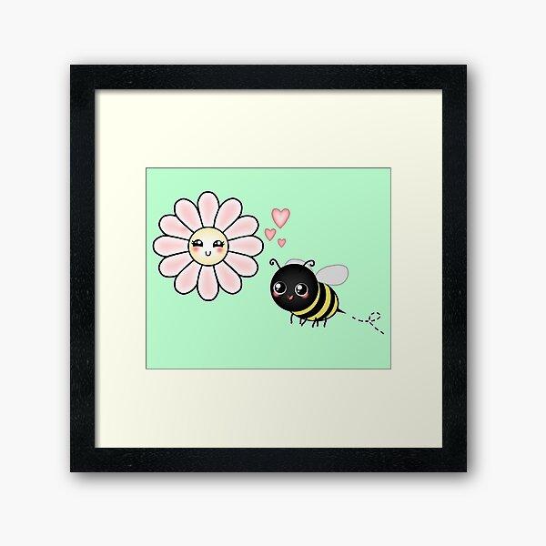 Kawaii Bumble Bee & Kawaii Daisy   Pink Blossom Flower Framed Art Print