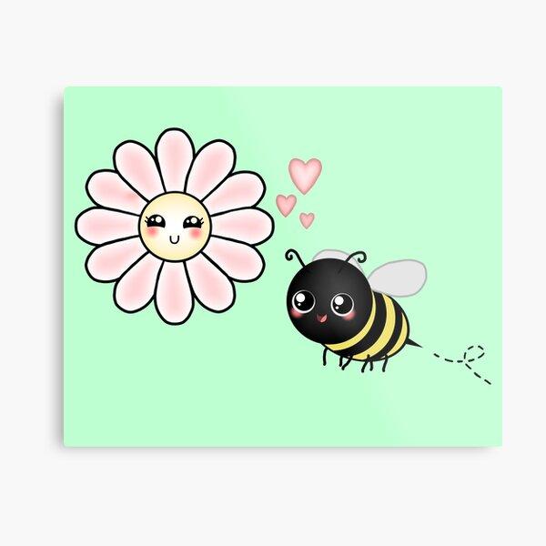 Kawaii Bumble Bee & Kawaii Daisy   Pink Blossom Flower Metal Print