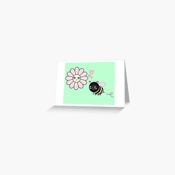 Kawaii Bumble Bee & Kawaii Daisy | Pink Blossom Flower Greeting Card