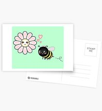 Kawaii Bumble Bee & Kawaii Daisy | Pink Blossom Flower Postcards