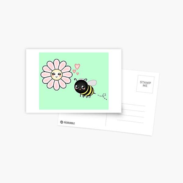 Kawaii Bumble Bee & Kawaii Daisy | Pink Blossom Flower Postcard