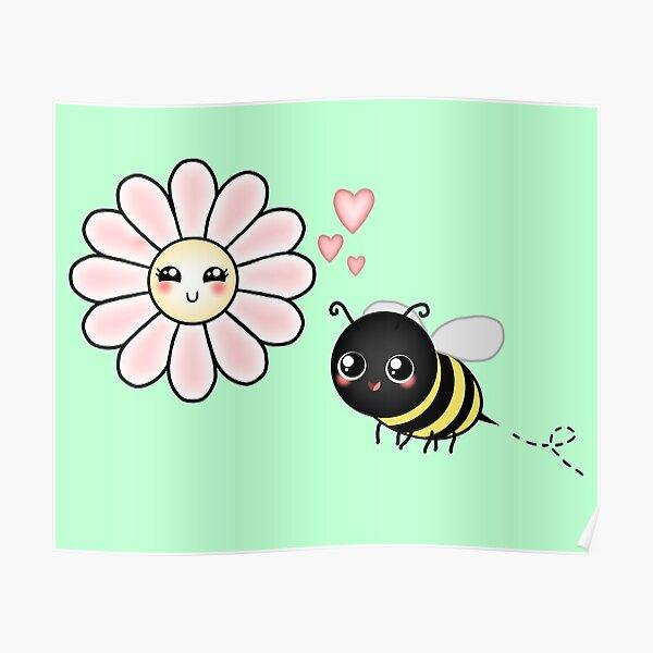 Kawaii Bumble Bee & Kawaii Daisy   Pink Blossom Flower Poster