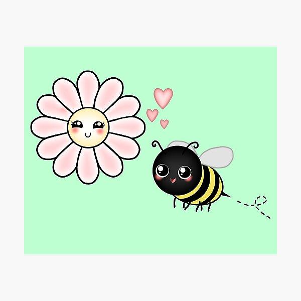 Kawaii Bumble Bee & Kawaii Daisy | Pink Blossom Flower Photographic Print