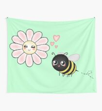 Kawaii Bumble Bee & Kawaii Daisy | Pink Blossom Flower Wall Tapestry