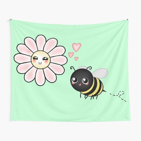 Kawaii Bumble Bee & Kawaii Daisy | Pink Blossom Flower Tapestry