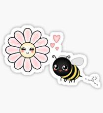 Kawaii Bumble Bee & Kawaii Daisy | Pink Blossom Flower Sticker
