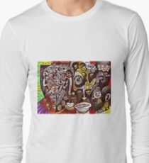 abstract dark faces shouting (amnesia) Long Sleeve T-Shirt