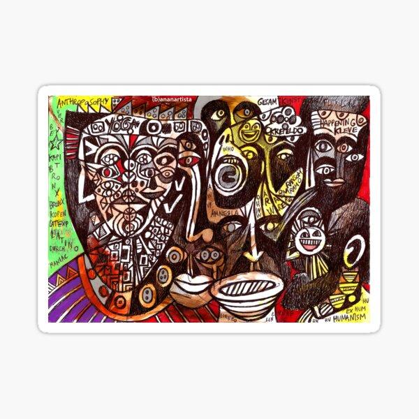 abstract dark faces shouting (amnesia) Sticker