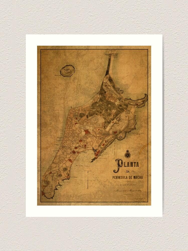 Poster Many Sizes; Map Of Macau China 1889