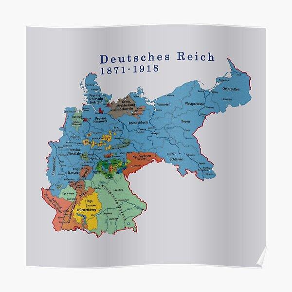 Germany...Deutsches Reich 1871 Map Poster