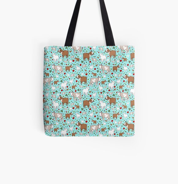 Goats in Blue All Over Print Tote Bag
