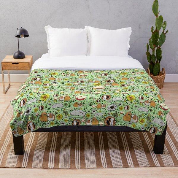 Guinea Pigs in Green  Throw Blanket