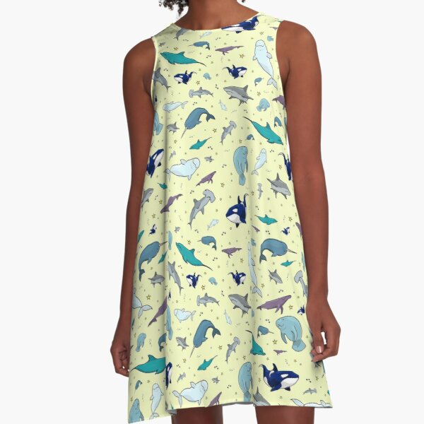 Ocean in Yellow A-Line Dress