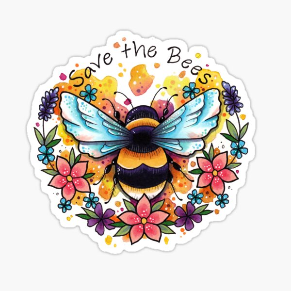 Bees and Slogan with Flowers Design Sticker