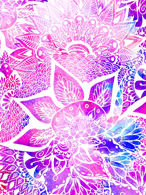 Quot Purple Blue Henna Boho Floral Mandala Pattern Quot Stickers