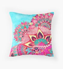 Bohemian boho red blue floral paisley pattern  Throw Pillow