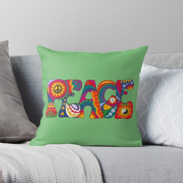Psychedelic Peace Throw Pillow