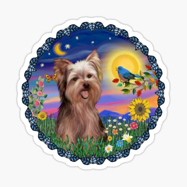 Bluebird and Yorkshire Terrier Sticker